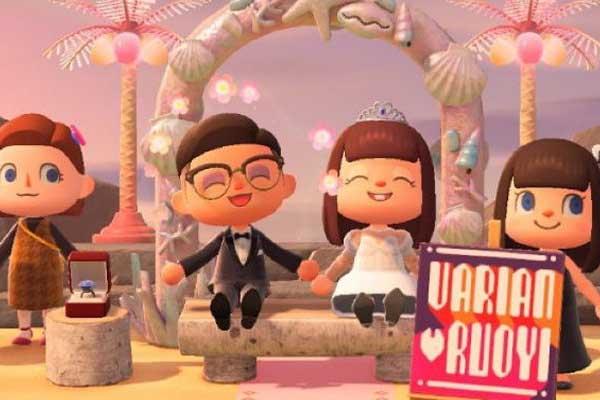 คู่บ่าวสาวจัดงานแต่งงานกันในเกม
